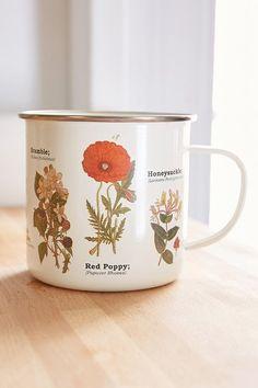 Enamel botanical mug