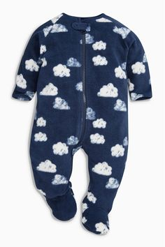 Buy Navy/White Cloud Fleece Sleepsuit (0mths-3yrs) from the Next UK online shop