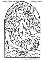 Stained Glass Bible Coloring Pages: Baby Moses, Moses Parts Red Sea, Baby Jesus, Jesus' Resurrection, etc.