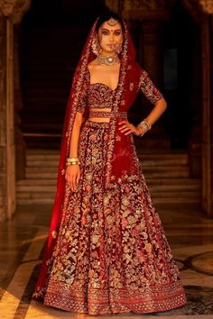 Beautiful Exclusive Designer Maroon Color Bridal Lehenga Choli-Bridal Lehenga Store Best Picture For Bridal Outfit receptions For Your Taste You are looking for something, and it is going to tel Indian Bridal Outfits, Indian Bridal Fashion, Indian Bridal Wear, Indian Wedding Lehenga, Bridal Lehenga Choli, Lehenga Gown, Indian Weddings, Designer Bridal Lehenga, Lehenga Designs