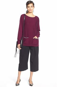 Might like to try culottes. Love the color of the sweater.