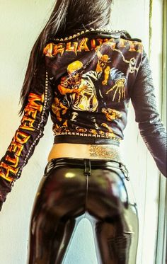 Hot leather pants and Megadeth jacket sexy girl