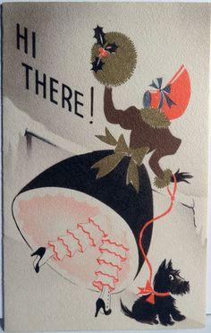 1930s Art Deco Lady Her Scottie Dog Vintage Christmas Card