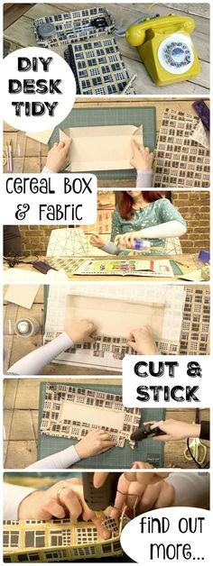DIY Desk Tidy - upcycle an old cereal box and take some fabric scraps to create your own matching and personalised stationery set. Lovely DIY!