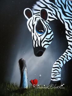 5x7 CANVAS ART zebra BIG EYED eye Modern Animals love Inspirational SERENE heart #Miniature