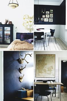 painted floors, black accents, vintage finds