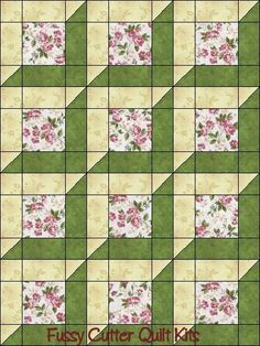 Use thinner sashing   Katelyn s Garden Red Rooster Pink Roses Sage Green  Attic Window Shabby Chic Floral Flowers Easy Pre-Cut Quilt Blocks Top Kit 36962c8bc6