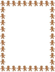 Printable gingerbread man border. Free GIF, JPG, PDF, and PNG downloads at http://pageborders.org/download/gingerbread-man-border/. EPS and AI versions are also available.