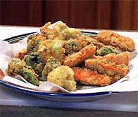 tempora veggies-easy and tasty; less heavy than traditional southern fried vegetables