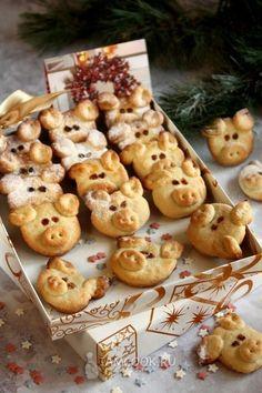 New cookies recipes christmas shortbread ideas New Dessert Recipe, Healthy Dessert Recipes, Fun Desserts, Real Food Recipes, Cookie Recipes, Yummy Food, Shortbread Recipes, Cookies Et Biscuits, Pig Cookies