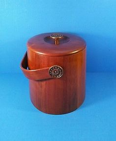 Beautiful Vintage Vermilion Walnut Ice Bucket Mid Century Modern
