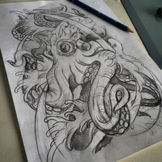 Octopus flash for tattoo by Kade Mack - tattoo artist at Kaleidoscope Tattoo, Bondi, Sydney
