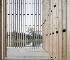 Completed in 2014 in Nanjing, China. Images by Yao Li. The project - a 200 square meter small chapel, is located in Wanjing Garden along Nanjing's Riverfront. Hosted by priests from Nanjing Union. Detail Architecture, Timber Architecture, Church Architecture, Religious Architecture, Contemporary Architecture, Architecture Interiors, Nanjing, Wood Facade, Wood Cladding