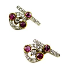 Pair of early 20th century ruby and diamond cufflinks, French c.1910,