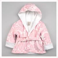 Pink and White Velour and Terry Bath Robe