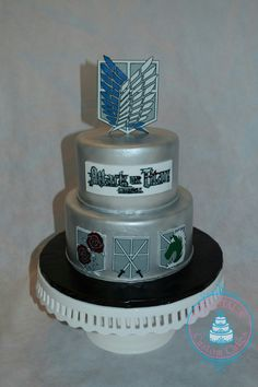 I designed this Attack on Titan cake for an awesome dude who just graduated! Attack On Titan, Beautiful Cakes, Amazing Cakes, Naruto Birthday, Anime Cake, Metallic Cake, My Birthday Cake, Cake Decorating Techniques, Occasion Cakes