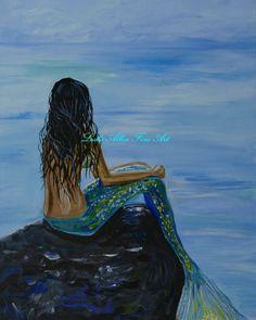 Mermaid Art Mermaid Print Brunette Mermaid by LeslieAllenFineArt