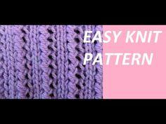 Knit Pattern * VERY EASY KNIT PATTERN * Knitting Videos, Knitting Stitches, Knit Patterns, Stitch Patterns, Stick O, Knit Crochet, Crochet Hats, Rib Knit, Free Pattern
