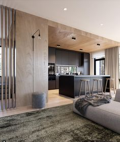 This livingroom is designed and visualized by Studio and is located in North of Saint Petersburg, Russia. Loft Interior, Luxury Interior Design, Interior Design Inspiration, Kitchen Interior, Interior Architecture, Interior Decorating, Living Styles, Minimalist Interior, Home Furnishings