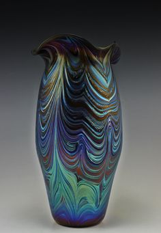 #59. Bohemian Art Glass Czech Iridescent Vase  For sale: