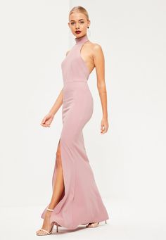 Missguided - Pink Choker Maxi Dress
