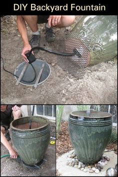 This pot plant water feature gives a great effect without a lot of physical labor. Diy Water Fountain, Diy Garden Fountains, Pond Fountains, Diy Water Feature, Backyard Water Feature, Garden Yard Ideas, Lawn And Garden, Water Features In The Garden, Yard Design