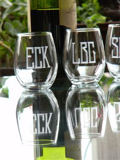 These monogrammed wine glasses would make a great hostess gift. $36