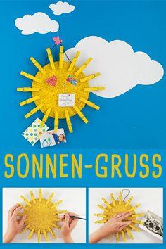 Einfache Pinnwände sind langweilig? Dann bastelt euch doch eine Sonnen-Pinnwand! #basteln #bastelnmitkindern #upcycling #sonne