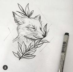 Leaves instead of the feather? -K - of tattoo designs ideas männer männer ideen old school quotes sketches Tattoo Sketches, Tattoo Drawings, Drawing Sketches, Art Drawings, Fox Tattoo Design, Tattoo Designs, Tattoo Ideas, Animal Sketches, Animal Drawings