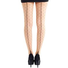 Sheer Seamed Tights - Natural (Polka Dot). Style : 40's and 50's Fashion, Rockabilly, Pin Up. Classic sheer tights with all over black polka dots and sexy back seam. Label: Pamela Mann. The Safe Drop option makes it easy to organise to have your e-parcel left in a specified location when you will not be home. | eBay!
