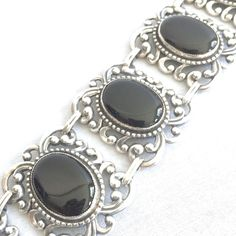 Sterling Silver Black Onyx Art Deco Bracelet Hinged Panel Canecraft USA 1930s #Canecraft #Cuff