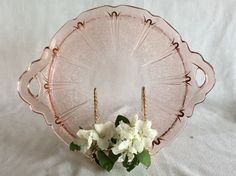 Antique Jeannette glass Cherry Blossom pattern pink Depression glass handle tray cake plate by lizfinestcollection on Etsy