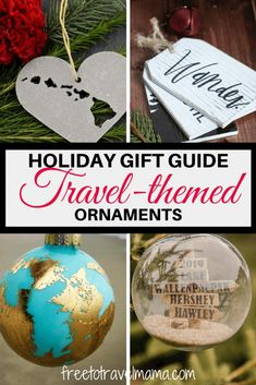 We searched the globe to find the very best Travel Ornaments to add to your Christmas tree! All handmade with love and care and personalized for your travel-loving self or loved one. Travel Souvenirs, Travel Gifts, Travel Stuff, Travel Destinations, Holiday Gift Guide, Holiday Gifts, Farmhouse Christmas Ornaments, Holiday Ornaments, Packing Tips For Travel