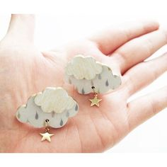 Cloud with star Polymer Clay Crafts, Polymer Clay Creations, Polymer Clay Earrings, Resin Crafts, Resin Art, Resin Jewelry, Body Jewelry, Jewelry Art, Custom Jewelry