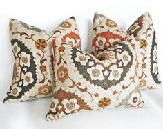 Suzani  Pillows with rich organic textures and spicy autumn colors. NEW FALL 2013 COLLECTION by PillowThrowDecor on Etsy