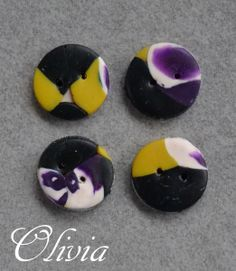 Buttons handmade in polymer clay / Kato clay /Fimo clay.    4 pcs. about 14-15 mm in diameter.      Handmade buttons are slightly different in shape a