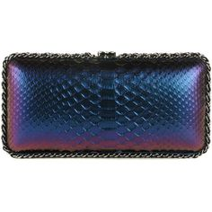 CHANEL Metallic Python Chain Around Clutch Purple ❤ liked on Polyvore featuring bags, handbags, clutches, chanel handbags, purple leather purse, blue leather purse, blue handbags and leather purses