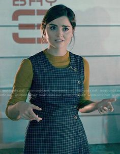 Clara's checked button front dress on Doctor Who.  Outfit Details: https://wornontv.net/52341/ #DoctorWho