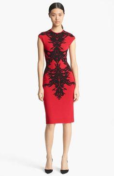 Alexander McQueen Spine Print Intarsia Knit Dress | Nordstrom