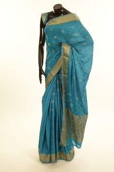 Mysore Crepe- crepe light turquoise blue saree with blouse