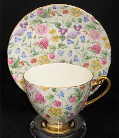 Shelley CountrySide Chintz Tea Cup  Saucer Gold pedestal Foot, handle and trim Ripon Shape