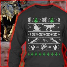 Jurassic World T Rex Logo Red Ugly Christmas Sweater (Adult Medium ...