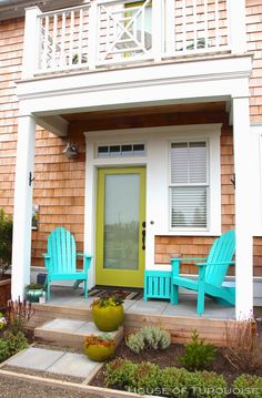 House of Turquoise: Turquoise Tour of Seabrook, Washington. Love this porch! #coastalliving