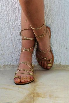 Leather lace-up Sandals Gold