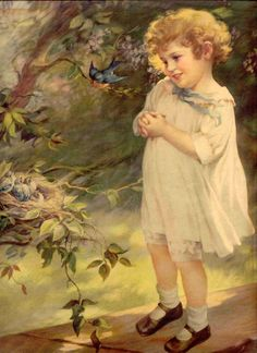 Little Girl and a Bluebird -- Mabel Rollins Harris