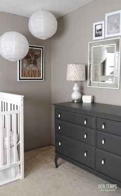LOVE the dark gray painted dresser with the light gray walls