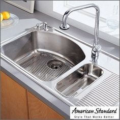 I like that this sink comes with a built in draining board. forever-home-ideas