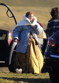 Joanna Page decked out in what appears to be a Queen Elizabeth I costume on the set of Doctor Who's 50th anniversary special...