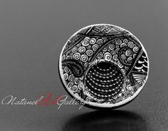 Polymer Clay Round Cocktail Ring Doodle by NatanelArtGallery