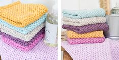 Have even more refreshing baths with these Clean 'N Colorful knitted washcloths. The cheery knit pieces will definitely help wash your stresses . Knitted Washcloth Patterns, Knitted Washcloths, Dishcloth Knitting Patterns, Crochet Dishcloths, Knit Crochet, Crochet Patterns For Beginners, Knitting For Beginners, Baby Knitting Free, Stitch Toy
